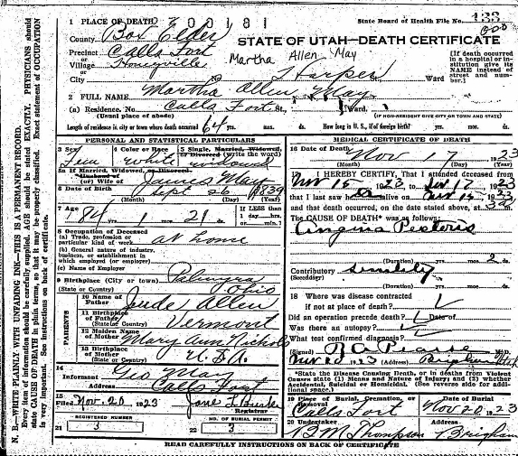 Early 20th Century Death Certificates of Utah | FamilyTree.com