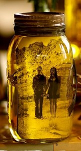 Photo in olive oil and mason jar