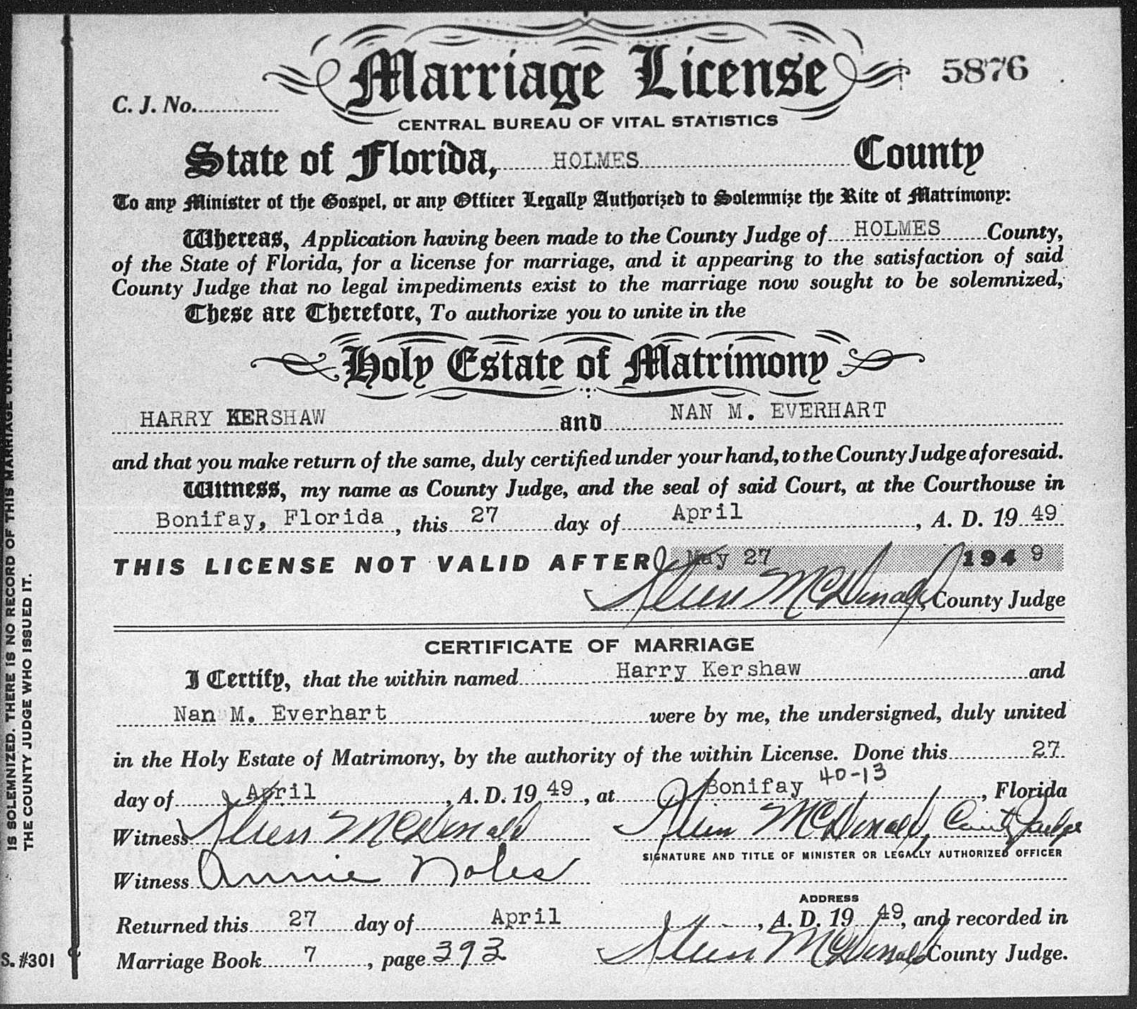 Florida marriage records familytree fl 1949 marriage xflitez Gallery