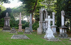 Gravestones at Fort Canning Green