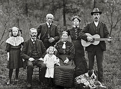 old family photo with guitar
