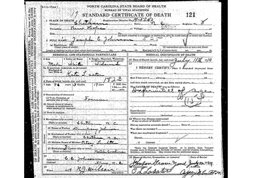 N s death certificates 1906 1943 familytree nc johnson the same situation is true for death certificates issued in south carolina aiddatafo Image collections