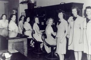Left to right: Supervisor Gene Krieder, Laura Mispel, Alice Arnold, Danita Deno, Margie Hodapp, Lucille Blanton, Boots Arnold, Winifred Pederson & Dorothy Anderson. (source photo Boots Arnold Snipes) -- 1947