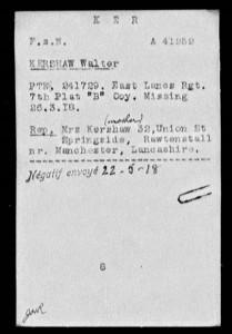 WW I--Walter Kershaw