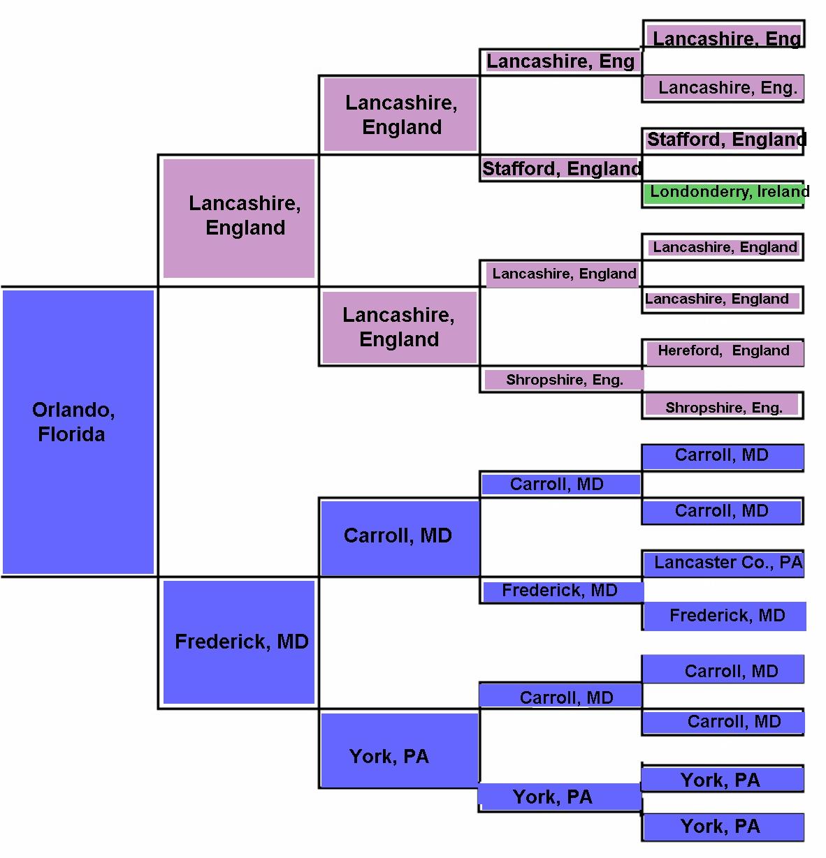 pedigree of ancestor u0026 39 s birth county    state