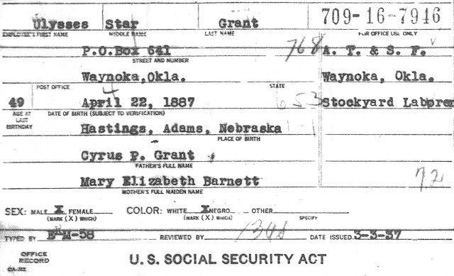 Copy Of Social Security Application | Familytree.Com