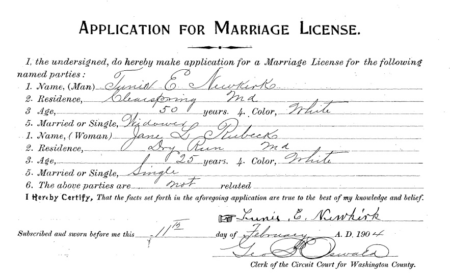 marriage records 1886-1970 for washington co., md   familytree